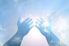 Hand on Blue sky Stock Photography