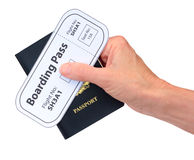 Hand with Boarding Pass and Passport isolated Royalty Free Stock Photography