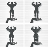 Hand and Bodybuilder. Icon of a hand and bodybuilder stock illustration