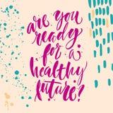 Hand-bokstäver affisch om sund framtid Arkivbild