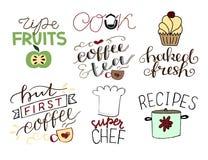7 hand-bokstäver citationstecken om mogna frukter för mat kock Bakade nytt Men första kaffe Toppen kock recept vektor illustrationer
