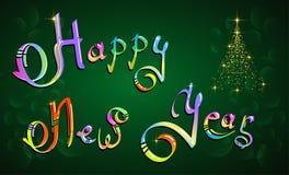 Hand-bokstäver för det lyckliga nya året färgade text på grön bakgrund royaltyfri illustrationer