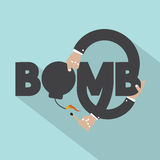Hand With Bomb Typography Design. Vector Illustration Royalty Free Stock Images