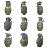 Hand bomb on white background. Hand bomb frag grenade set green metal with scratches and round pin over. 3d render isolated on white Stock Photography