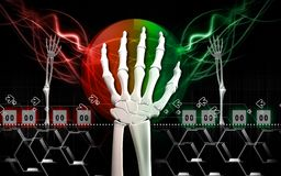 Hand bone. Digital illustration of hand bone in colour background Stock Photo