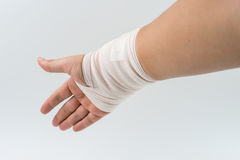 Hand bone broken from accident with arm splint. White background royalty free stock photography