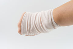 Hand bone broken from accident with arm splint. White background royalty free stock photos
