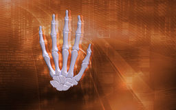 Hand bone. Digital illustration of hand bone in colour background Stock Image