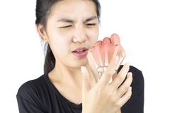 Hand bone pain. White background finger injury royalty free stock images