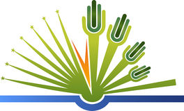 Hand book logo Royalty Free Stock Photo