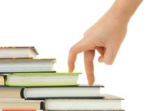 Hand and book stairs royalty free stock image