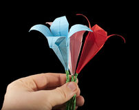Hand with bouquet pink, red and blue flowers. Origami black isolated. Paper made flowers Royalty Free Stock Image