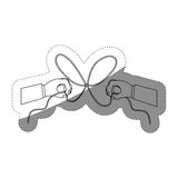 Hand and bowtie rope design. Hand and bowtie rope icon. Cord string cable and knot theme. Isolated design. Vector illustration Royalty Free Stock Photos