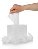 Hand and box with facial wipe Royalty Free Stock Photo