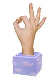 Hand in box (okay sign) Royalty Free Stock Photo