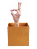 Hand in box shows okay Stock Photography