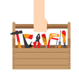Hand box with tools Royalty Free Stock Photo