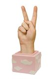 Hand in box (victory sign) Royalty Free Stock Photography