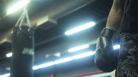 Hand Of Boxer Ready For A Fight stock footage