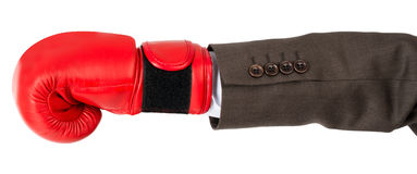 Hand with boxing glove Stock Photos