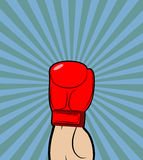Hand in Boxing Glove. Winner, boxing champion raised his hand up Stock Images