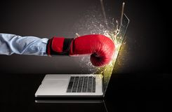 Hand boxing laptops screen. Strong arm boxing laptop screen strongly vector illustration