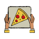 Hand boy delivery box pizza drawing Stock Photos