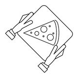 Hand boy delivery box pizza outline Stock Photo