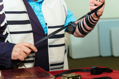 Hand of boy reading the Jewish Torah Bar Mitzvah Stock Images
