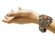 Hand with bracelet royalty free stock photography