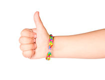 Hand with bracelet gum Royalty Free Stock Photo