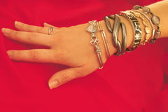 Hand and Bracelets Royalty Free Stock Photography
