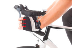 Hand on brake lever Stock Image