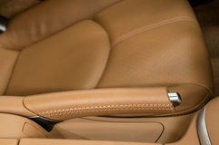 Hand brake in a sport car. Royalty Free Stock Photos
