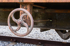 Hand brake of train Stock Photo