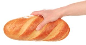 Hand with bread Stock Image