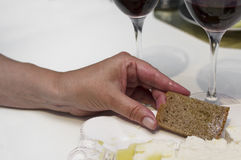Hand With Bread Stock Photos