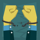 Hand break the chain he wore handcuffs Royalty Free Stock Photo