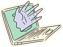 Hand Breaking Through Laptop Stock Photos