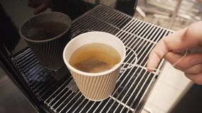 Hand brewing a tea bag in a disposable cardboard glass with boiled hot water.