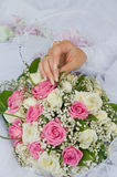 Hand of the bride and bouquet. Stock Images