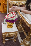 Hand of bride wait for blessed water Royalty Free Stock Photo