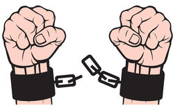 Hand broken chains. Release of hands from handcuffs Royalty Free Stock Photos