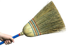 Hand with Broom Stock Image