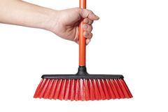 Hand and broom. Hand and broom isolated on white Royalty Free Stock Images