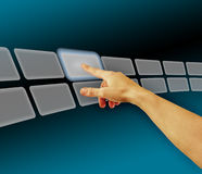 Hand browsing images in touch screen virtual space stock photos