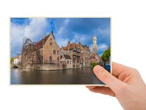 Hand and Brugge cityscape - Belgium my photo royalty free stock photo