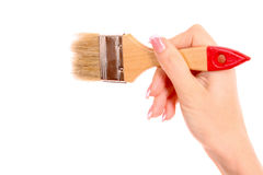 Hand with brush isolated Stock Photo