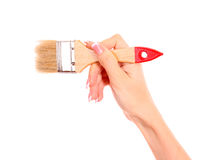 Hand with brush isolated Royalty Free Stock Images