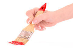 Hand with brush and red paint isolated Stock Photography